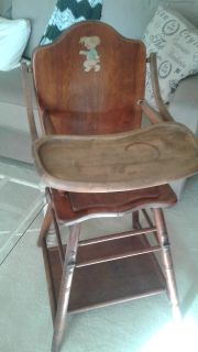 Wood Childs High Chair Combo