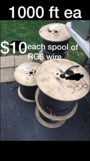 1000' foot spools of RG6 wire