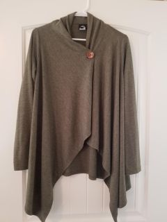 Olive green button poncho