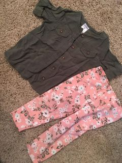 Carter s olive shirt with pink floral pants size 9 months