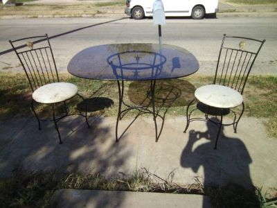 decorative wrought iron patio table and chairs