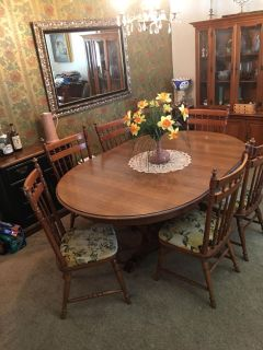 Vintage Tell City Hard-rock Maple Dining Table & 7 Chairs