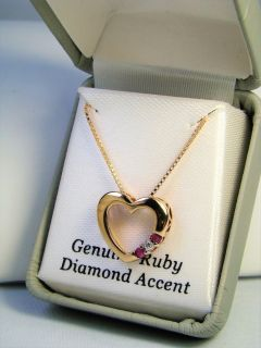 Pink Ruby & Diamond Accent Heart Sterling Silver Necklace
