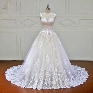 Isabelle's A Line White Lace Wedding Gown