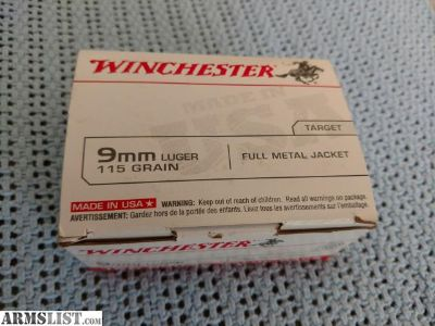 For Sale: Winchester 9mm Luger 115 Grain 100ct box