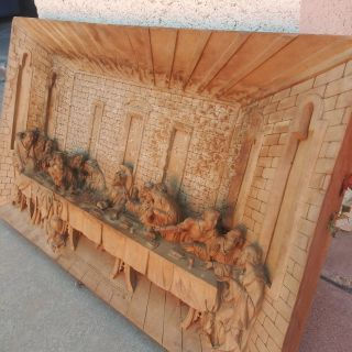 Last supper wood carved rare find