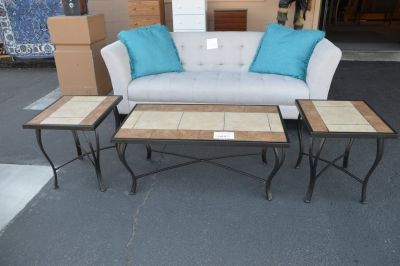 Tile Top Coffee Table & 2 End Tables