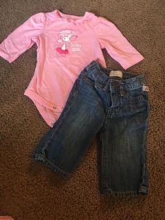 Adorable outfit... onesie is 3 months and BABY gap jeans 3-6 months