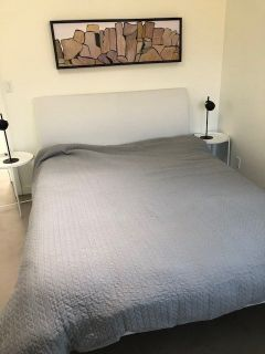 Queen bed , white leather head board with mattress