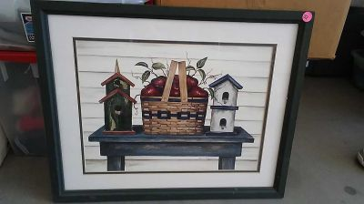 Wood framed farmhouse style picture size 22 by 17 $2 porch pick up