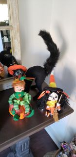 Set of 3 Annalee Halloween Collectible Decor. Candy Corn Witch Cat 2009. Scared Witch Cat 2007. Pumpkin Patch Elf 2008.