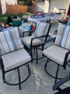 3 Patio Chairs that are taller Bar Height Stools with cushions new! $25 for all 3 Pick up near Pechanga