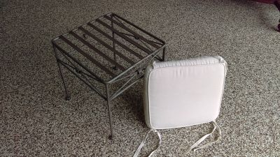 Pewter Stool with Cushion