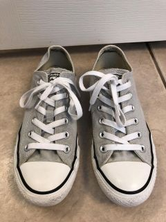 Gray low top Converse All Star shoes size 8 women