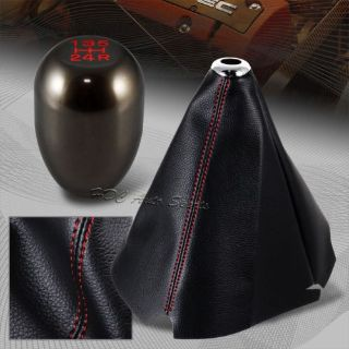 Purchase Red Stitch Leather Manual Shift Boot + Gunmetal 5-Speed Shifter Knob Universal 5 motorcycle in Walnut, California, United States