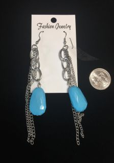 Brand new earrings - silver tone & turquoise