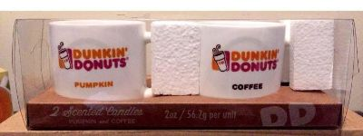 Dunkins package of 2 scented candles. In Reusable cappuccino cups. Pumpkin and coffee. New