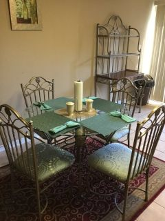 Kitchen table and 4 chairs, bakers rack
