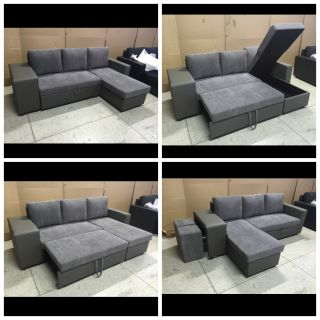 "Brand new 3 seater European style sofa bed with storage chaise and custom foot stools- 87""w x 57.5 chaise 32""deep 34""tall free delivery"