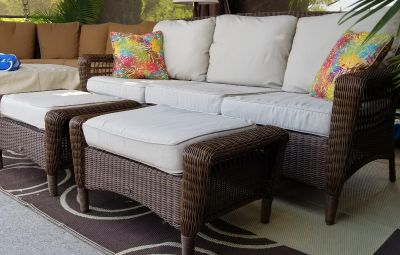 All Weather Wicker Outdoor Patio Sofa w/ 2 Ottomans & Cover