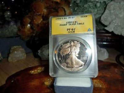 Beautiful Proof American Silver Eagle Dollar {1990-S ANACS MS 67} Gold Tone Bot