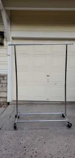 Chrome Rolling Clothes Rack