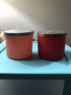 2 glass bath and body candle jars