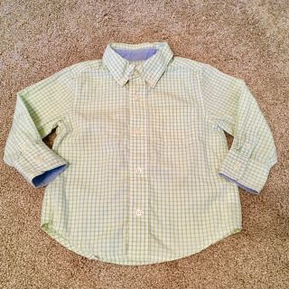 Green button up- 18-24 months