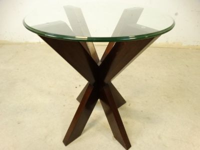 Round, Glasstop Side Table