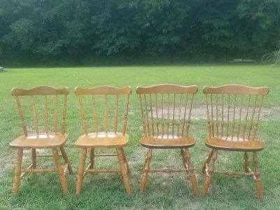 4 FARMSTYLE WOOD CHAIRS ($45 EACH)