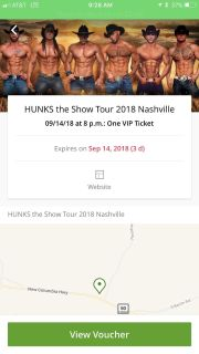 2 tickets to the Hunks show VIP