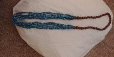 Turquoise and brown beaded necklace