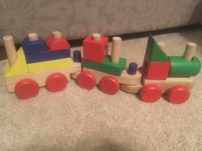 All wood train with building blocks