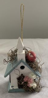 Small Blue/White Wooden Birdhouse with Red Bird on Roof