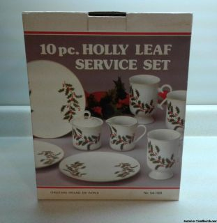 HOLIDAY CHRISTMAS 10 PC. HOLLY LEAF COFFEE SERVICE SET
