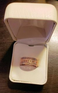 14K Rose Gold-Plated Sterling Silver Emerald-Cut Created White Sapphire Ring