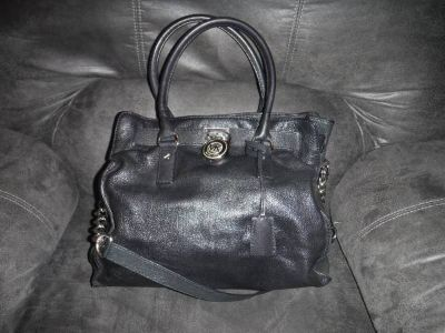 Michael Kors Hamilton Black Leather Purse Tote Handbag