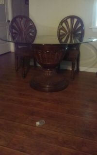 """50"""" Beveled Glass Topped, Pedestal, Dining Table & 4 Matching Chairs"""