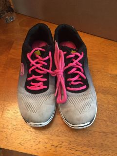 Girls/women size 6.5 used skechers. Still has lots of life left. Would make great P.E. shoes