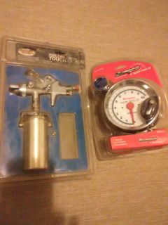 Touch up paint gun and 5 inch tachometer