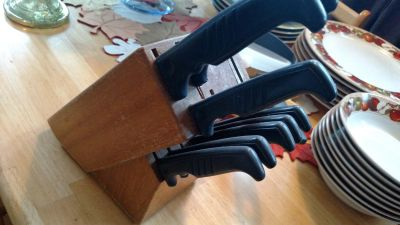 Knife block with some used cutlery