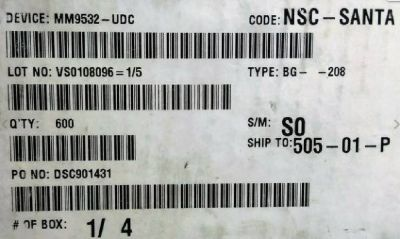 Microchips Semiconductors IC MM9532-UDC DSC901431 Lot Of 600