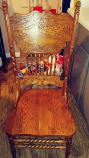 Set of Four Solid Oak Wood Dining Chairs