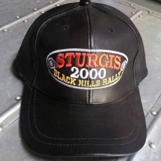 STURGIS Black Leather Hat Black Hills Rally 60th Bike Rally 2000 Biker