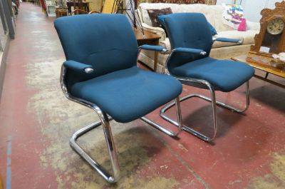 Vintage 1980 s pair of chrome Steelcase chairs