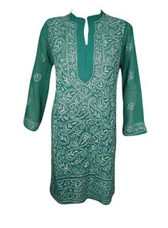 Georgous Indian Embroidered Tunic Green Georgette Coverup M