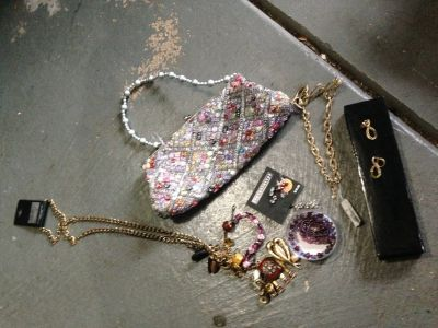 Purse, earring and necklaces