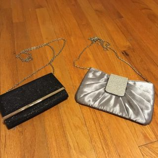Two evening clutch s - long chains