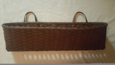 "Wicker wall basket 23"" long"