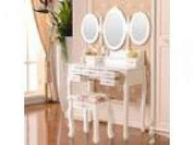 DFM White Dressing Table Set Vanity Makeup Table with Stool and